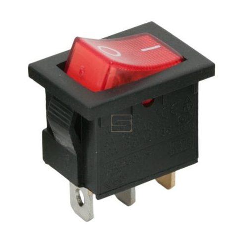 Kapcsoló készülékkapcsoló BE/KI 1P piros világít 6A 250V I-0 felirat
