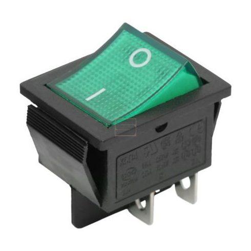 Kapcsoló készülékkapcsoló BE/KI 2P zöld világít 16A 250V I-0 felirat