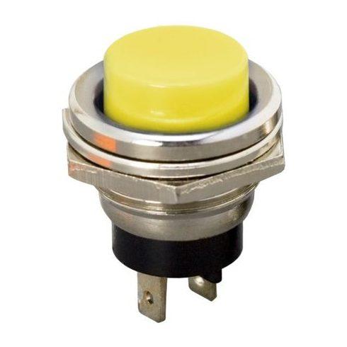 Kapcsoló nyomó; 1-pozíciós; NO; 2A/250V; sárga