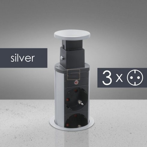 Elosztó rejtett 3 aljzat ezüst fémház (60 mm) GB