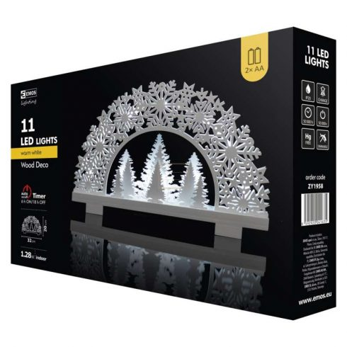 Karácsonyi Ablakdísz Félkoszorú beltéri 11led melegfehér EMOS(((AKCIÓS!!!)))