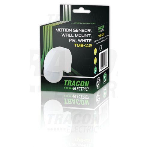 Mozgásérzékelő 180° infra falra, fehér 230 VAC, max. 12 m, 10 s-12 min, 3-2000lux, IP44 Tracon